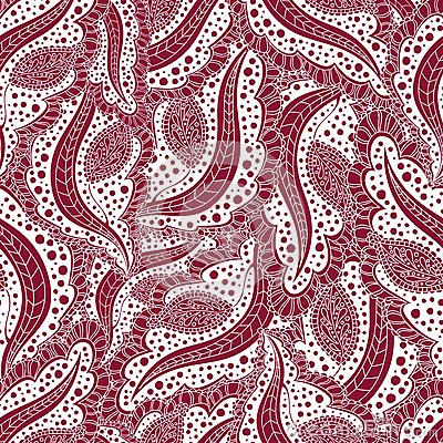 Abstract seamless floral pattern. Ornament for greeting cards. Seamless burgundy background of repetitive elements, scrollwork. Stock Photo