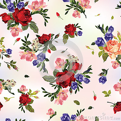Free Abstract Seamless Floral Pattern With Red Roses And Pink And Blu Stock Photo - 50508980