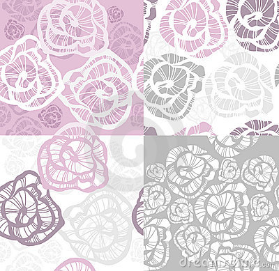 Abstract seamless flower rose pattern set.