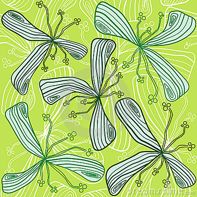 Abstract Seamless green flower