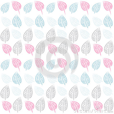Abstract seamless pattern. Leaves.Blue, pink, gray