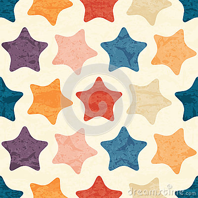 Free Abstract Seamless Pattern With Grunged Colorful Stars Royalty Free Stock Photography - 63503277