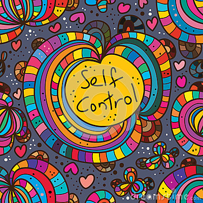 Free Abstract Self Control Drawing Seamless Pattern Stock Photography - 68583262