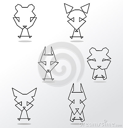 Abstract set of animals