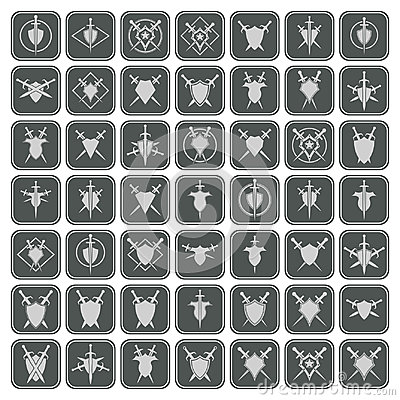 Abstract shield and sword icons. Vector Illustration