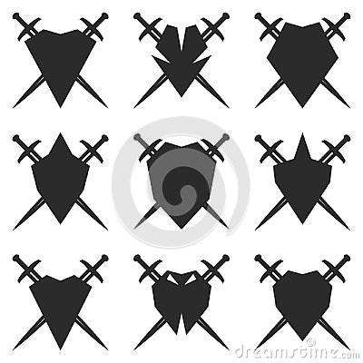 Abstract shield and sword signs. Vector Illustration