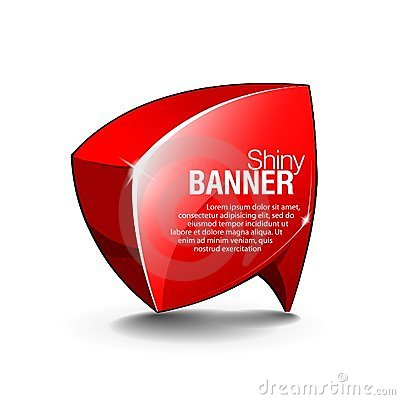 Abstract Shiny Glass Banner Red