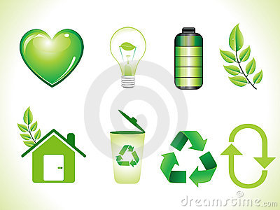 Abstract shiny green eco icons set