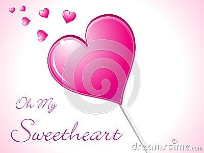 Abstract shiny heart lolipop candy