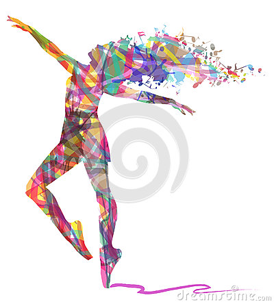 Abstract Silhouette of dancer and musical notes Stock Photo