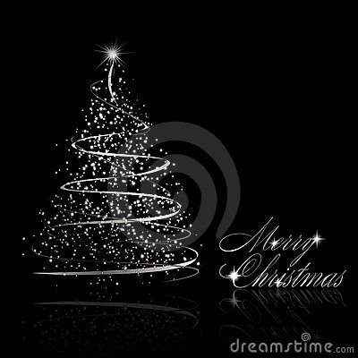 Free Abstract Silver Christmas Tree On Black Background Royalty Free Stock Photos - 17276808