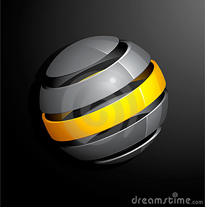 Abstract silver yellow sphere