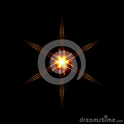 Abstract six shining rays star