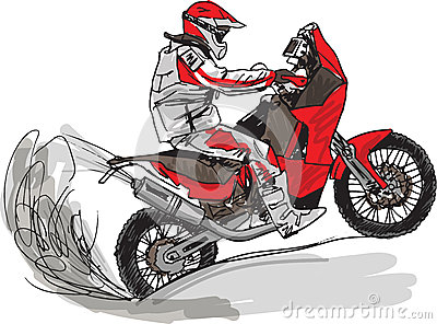 Abstract sketch of biker. Vector Illustration