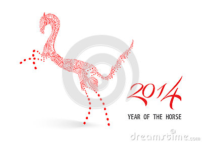 Abstract sketch illustration: Chinese new year of