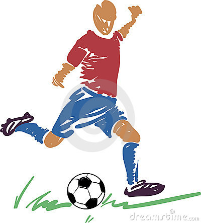 Abstract Soccer (football) player with a ball