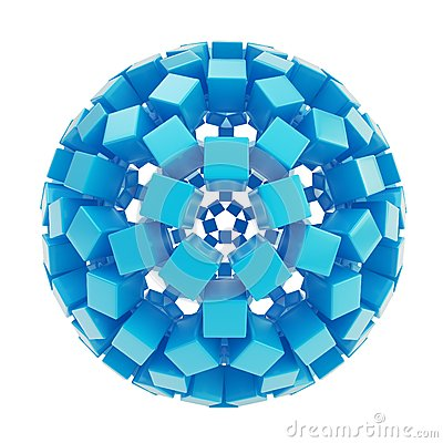Free Abstract Sphere Made Of Blue Glossy Cubes Stock Image - 34579271