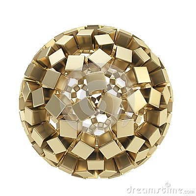 Free Abstract Sphere Made Of Golden Cubes Isolated Stock Photography - 29106362