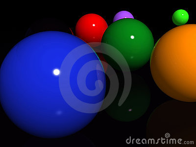 Abstract spheres over black