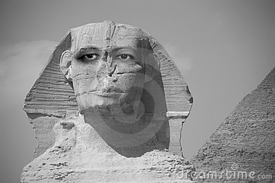 Abstract Sphinx with Eyes Looking into the Future