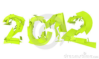 Abstract splitted lettering 2012 in neon green