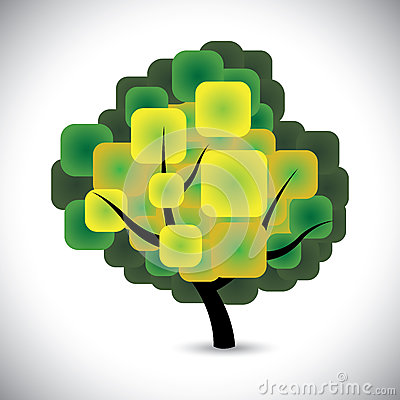 Abstract spring tree concept vector with colorful green leaves
