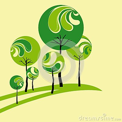 Abstract springtime green tree