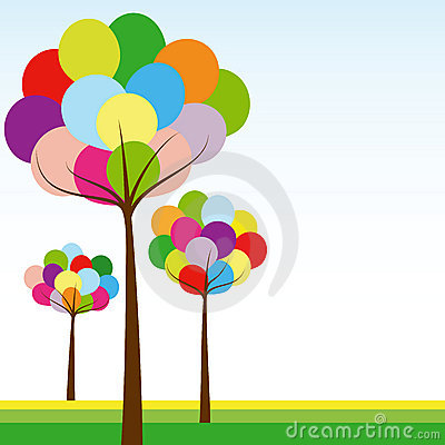 Abstract springtime rainbow color tree