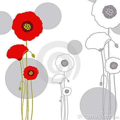 Free Abstract Springtime Red Poppy On Seamless Pattern Stock Photography - 18210492