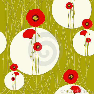 Free Abstract Springtime Red Poppy On Seamless Pattern Stock Image - 18291601