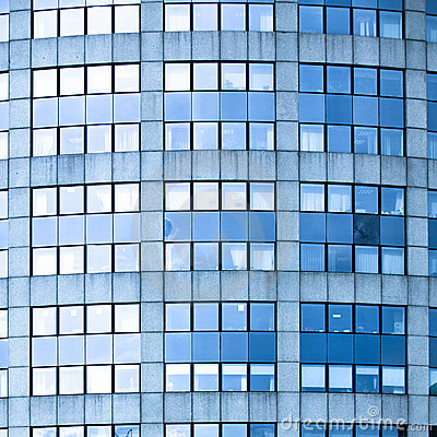 Abstract square crop of blue business office