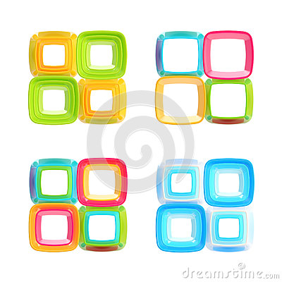 Abstract square frames isolated set