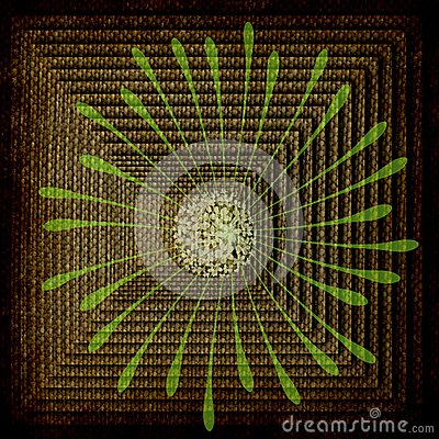 Abstract: Square Rows-Burlap, Green Flower