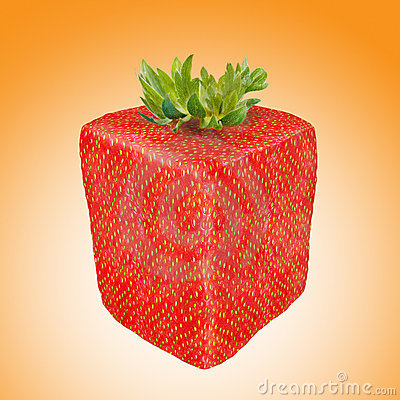 Abstract square strawberry fruit