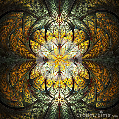 Free Abstract Stained Glass With Floral Pattern On Black Background. Stock Photos - 60633403
