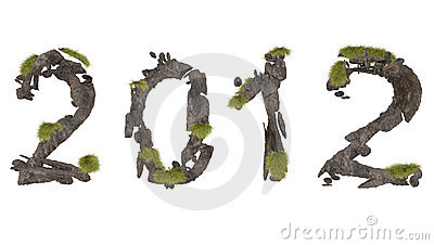 Abstract stone lettering 2012 with green grass