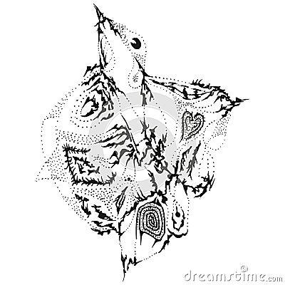 Abstract stylized B&W ascending bird