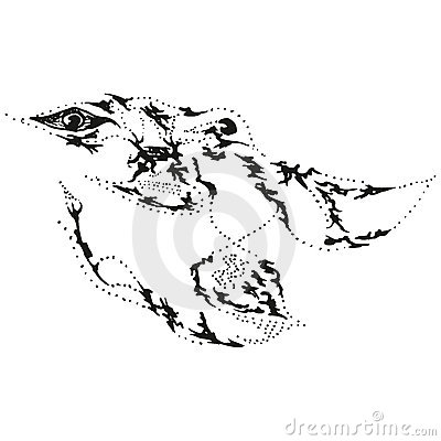 Abstract stylized B&W beast head