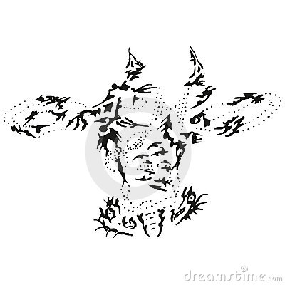Abstract stylized B&W cow head