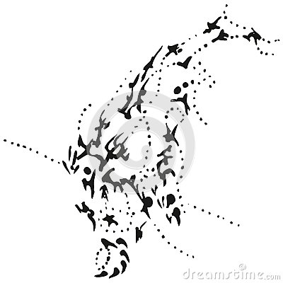 Abstract stylized B&W diving whale