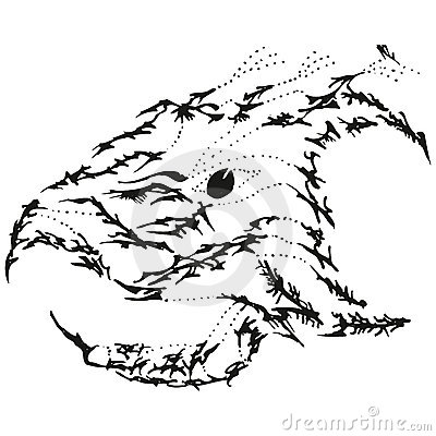 Abstract stylized B&W eagle griffin head