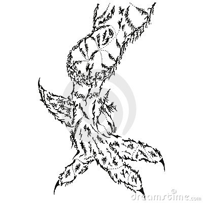 Abstract stylized B&W griffin leg