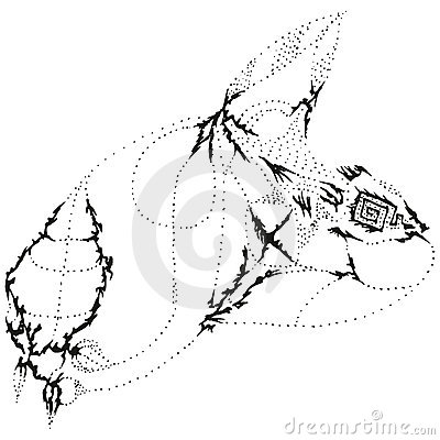 Abstract stylized B&W nasty rabbit head