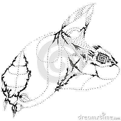 Abstract stylized B&W nasty rabbit head
