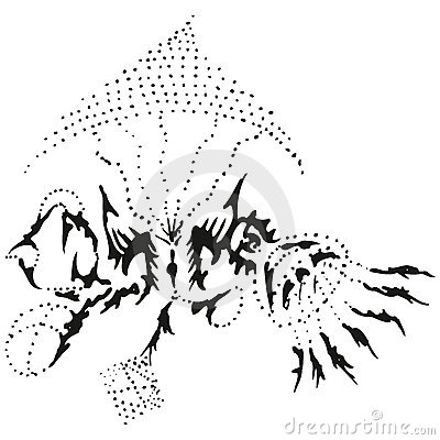 Abstract stylized B&W rising jellyfish