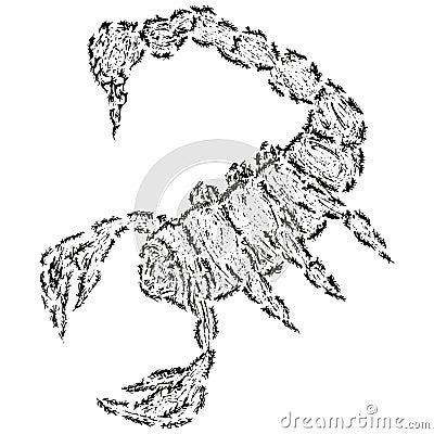 Abstract stylized B&W scorpion