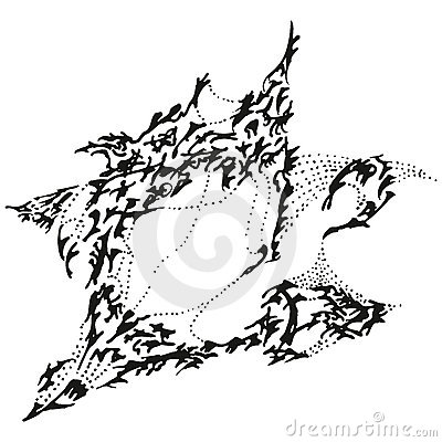 Abstract stylized B&W yawning sparrow