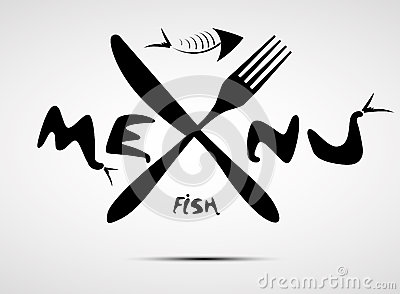 Abstract stylized fish menu for restaurant