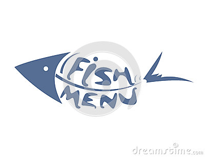 Abstract stylized scaled fish for restaurant menu