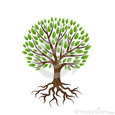 Abstract stylized tree with roots and leaves. Natural illustration Vector Illustration